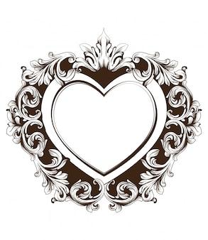 Cartão de forma de coração de moldura barroca vintage
