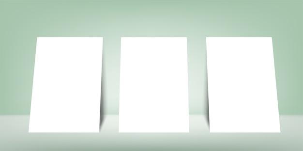 Cartão de formato branco de formato ertical em fundo cinza com sombra