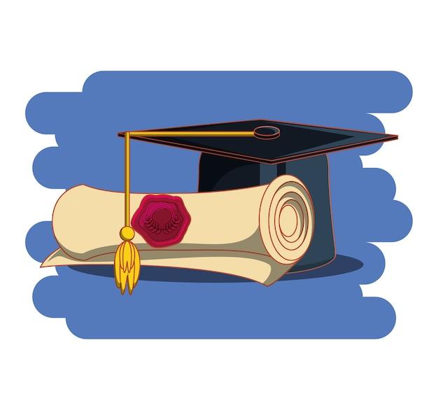 Cartão de formatura com chapéu e diploma