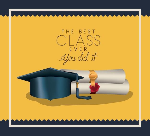 Cartão de formatura com diploma e chapéu