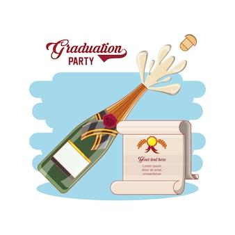 Cartão de formatura com garrafa de vinho