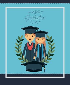 Cartão de formatura com graduados de casal