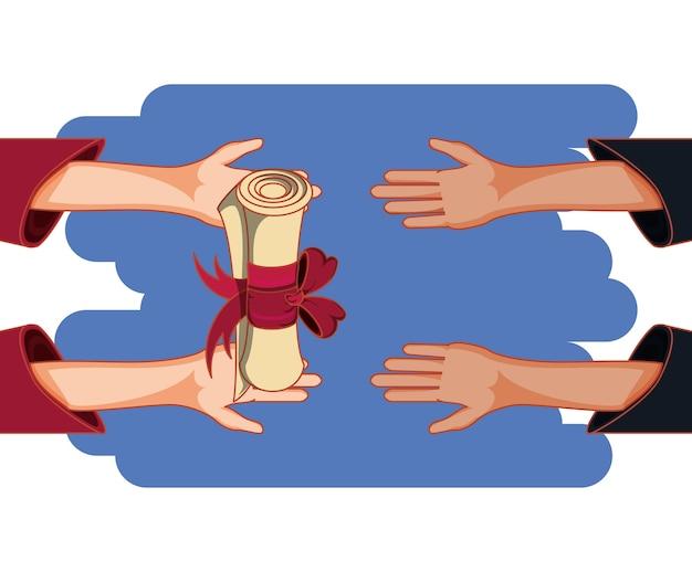 Cartão de formatura com ícone de diploma