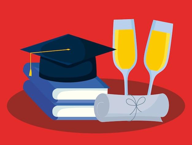 Cartão de formatura com livros e graduação de chapéu