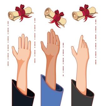 Cartão de formatura com mãos jogando diploma