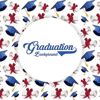 Cartão de formatura com padrão de chapéu e diploma