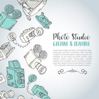 Cartão de foto de vetor desenhado mão esboçado