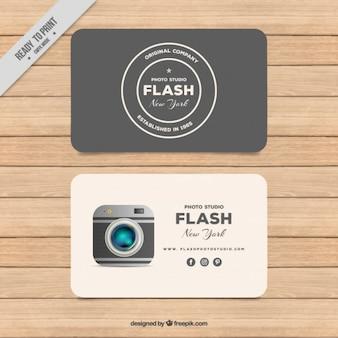 Cartão de fotografia em design plano