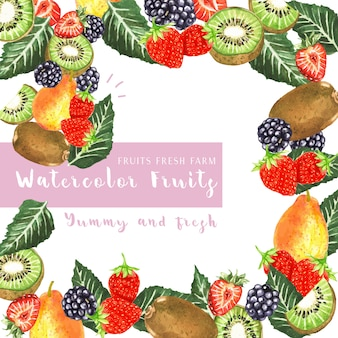 Cartão de frutas aquarela