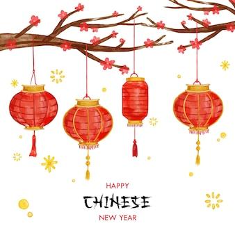Cartão de fundo aquarela de lanterna de ano novo chinês