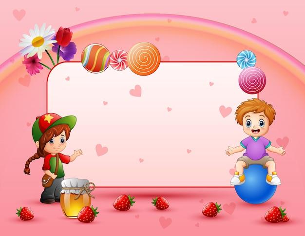 Cartão de fundo doce com crianças felizes
