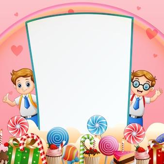 Cartão de fundo doce com dois alunos felizes