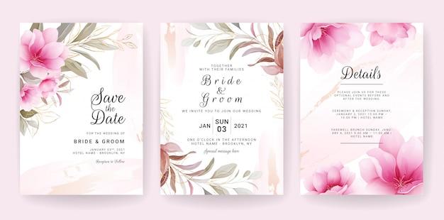 Cartão de fundo floral. modelo de convite de casamento conjunto com flores e glitter decoração para salvar a data, saudação, cartaz e design da capa