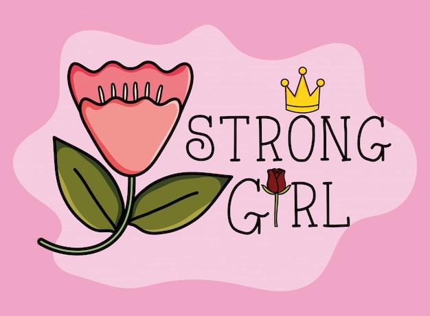 Cartão de garota de poder com decoração de flor rosa