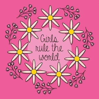Cartão de garota de poder com decoração floral