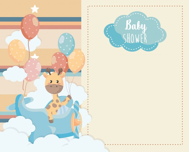 Cartão de girafa bonitinha no berço e nuvens