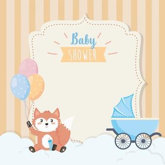 Cartão de giro fox com mamadeira e balões