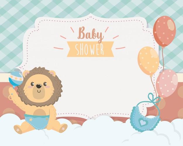 Cartão de giro leão com babador e balões