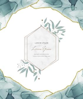 Cartão de glitter de tinta álcool azul com molduras de mármore geométricas e folhas.