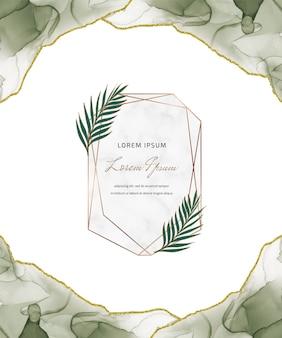 Cartão de glitter de tinta de álcool verde com molduras de mármore geométricas e folhas