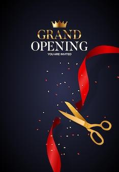 Cartão de grande inauguração com fita e tesoura