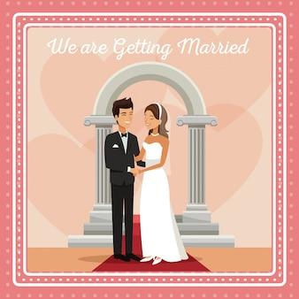 Cartão de gretting colorido com noivos e noiva abraçada