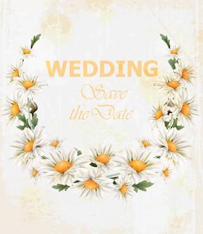 Cartão de grinalda de casamento de flores de camomila