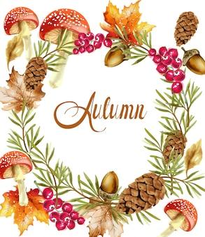 Cartão de grinalda de colheita outono. decoração dos cogumelos e das frutas da queda poster