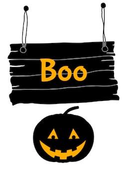 Cartão de halloween com abóbora. estilo de desenho animado. ilustração vetorial.