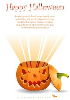 Cartão de halloween com abóbora, ilustração vetorial