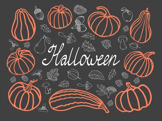 Cartão de halloween com abóboras cogumelos folhas cones peras maçãs bagas ilustração vetorial