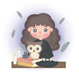 Cartão de halloween com bruxa bonita e coruja.