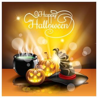Cartão de halloween com caldeirões mágicos de abóbora assustadores, poções mágicas e fundo de chapéu fantasma