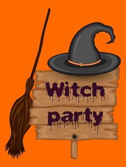 Cartão de halloween com conjunto de coven. estilo de desenho animado. ilustração vetorial.