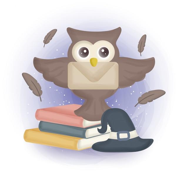 Cartão de halloween com coruja bonita.