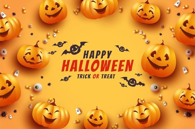 Cartão de halloween com morcegos assustadores e abóboras