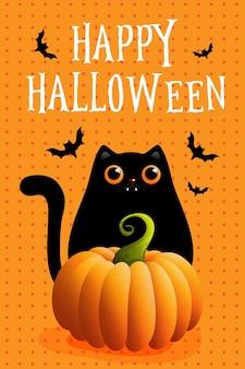Cartão de halloween, ilustrações vetoriais com letras e gato preto. banner de venda, papel de parede, folheto, convite, cartaz, folheto, desconto de voucher, design de bilhete. noite assustadora