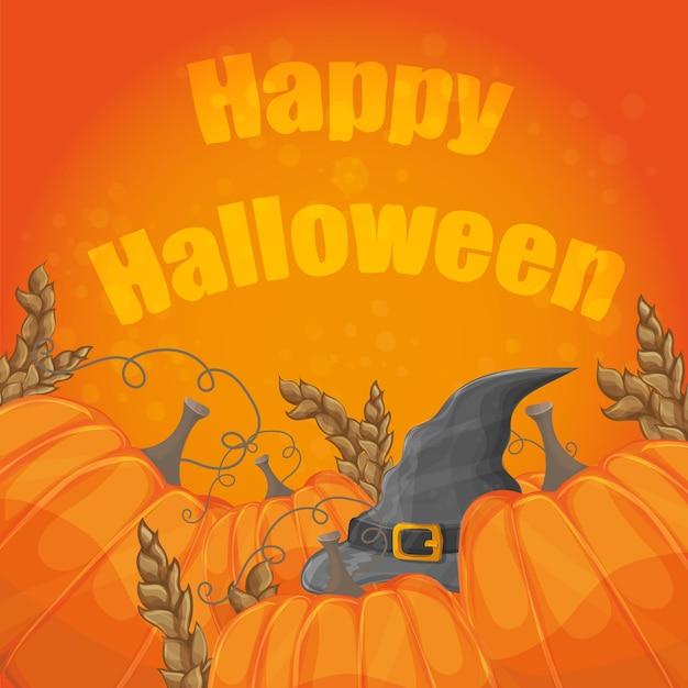Cartão de halloween moderno com chapéu velho e abóboras em fundo laranja