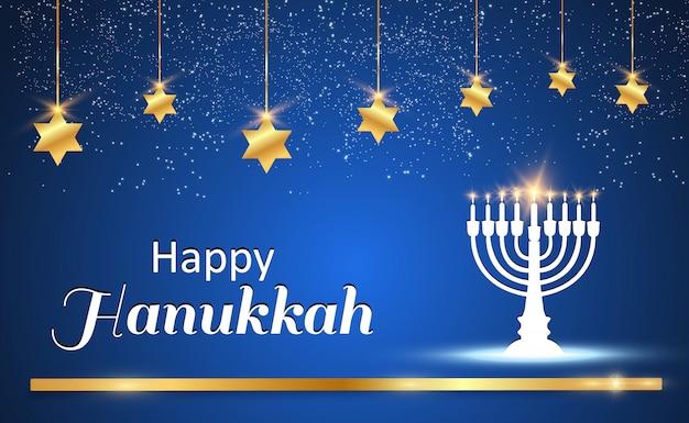 Cartão de hanukkah em um fundo bonito com estrelas de david e um castiçal israelense.