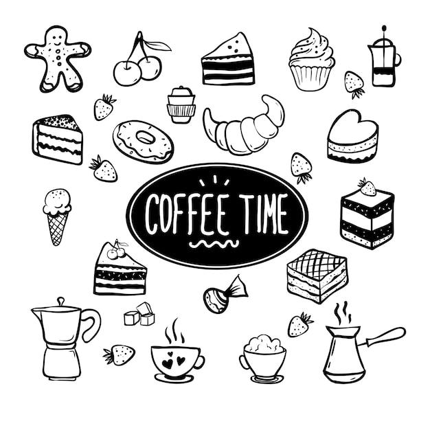 Cartão de hora do café com elementos da cozinha.