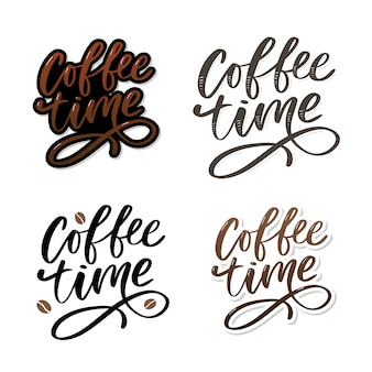 Cartão de hora do café. mão desenhada citação positiva.