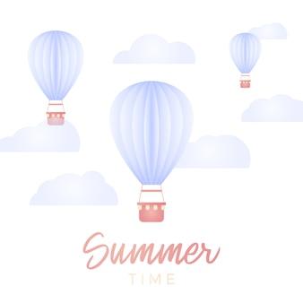 Cartão de horário de verão. balão de ar quente e nuvem no céu azul com elemento de design de arte em papel e ilustração