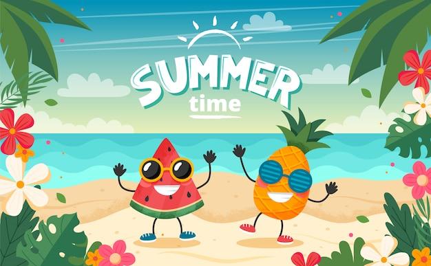 Cartão de horário de verão com caráter de frutas, paisagem de praia, letras e quadro floral.
