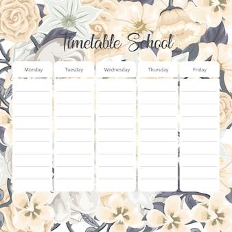 Cartão de horário escolar com flores
