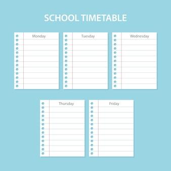 Cartão de horário escolar criativo com folhas riscadas dos dias da semana