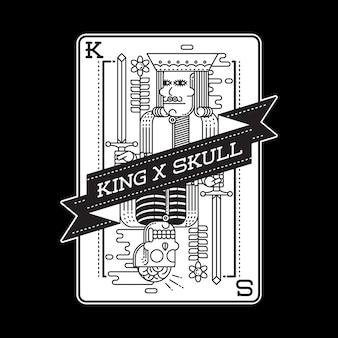 Cartão de horror do rei crânio ilustração gráfica arte design de camiseta