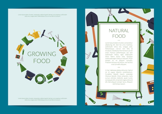 Cartão de ícones de jardinagem plana ou panfleto