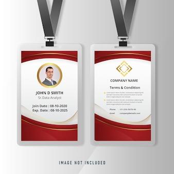 Cartão de identidade comercial em ouro vermelho para modelo corporativo de funcionário