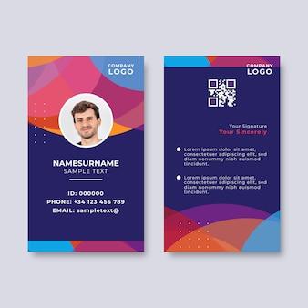 Cartão de identificação abstrato com espaço reservado para foto