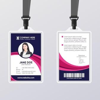 Cartão de identificação abstrato com modelo de foto